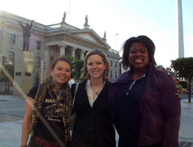 Callie, Maryann, Aziza on O'Connell Street
