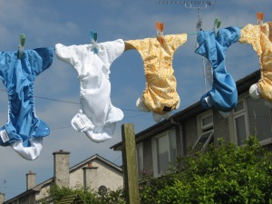 Shea's cloth nappies, blowing in the Irish breeze.