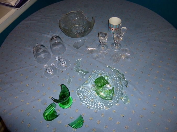 Sometimes I feel a bit like this shattered glassware we (unsuccessfully) shipped over from Ireland.