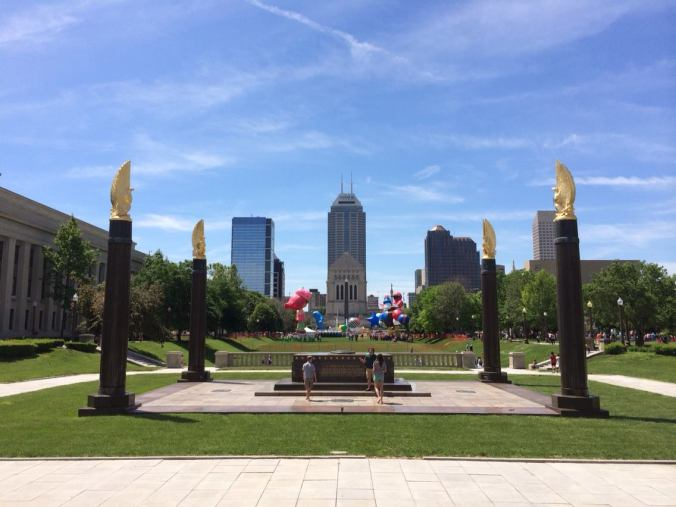 Indianapolis Skyline from the War Memorial Mall, on Indy 500 Parade Day.