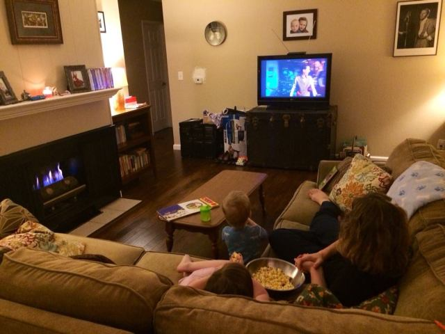 """Watching """"The Late Late Toy Show"""" from Ireland in our new living room."""