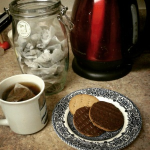 Lyon's tea and home made chocolate digestive biscuits