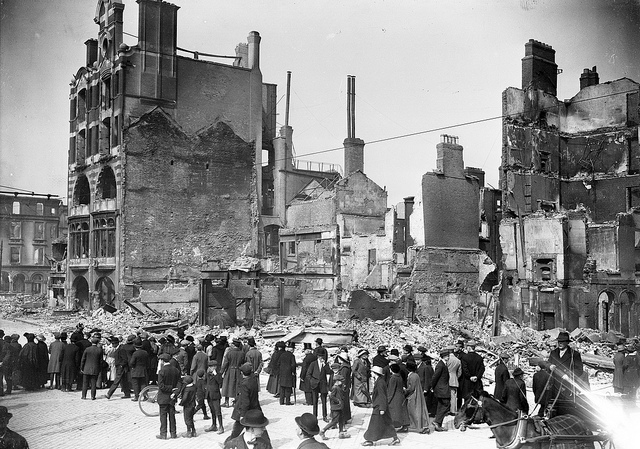 The remains of the Dublin Bread Company at 6-7 Lower Sackville Street (now O'Connell Street) after the Easter Rising in 1916. Photo courtesy of the National Library of Ireland on the Commons (Flickr)